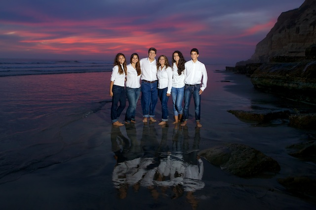 family photography on the beach at sunset