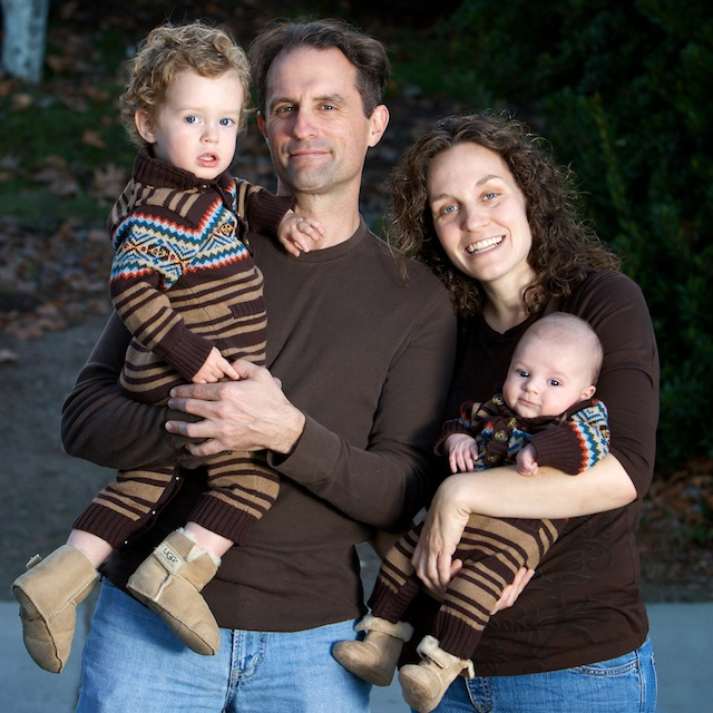 family in brown sweaters San Diego family photography